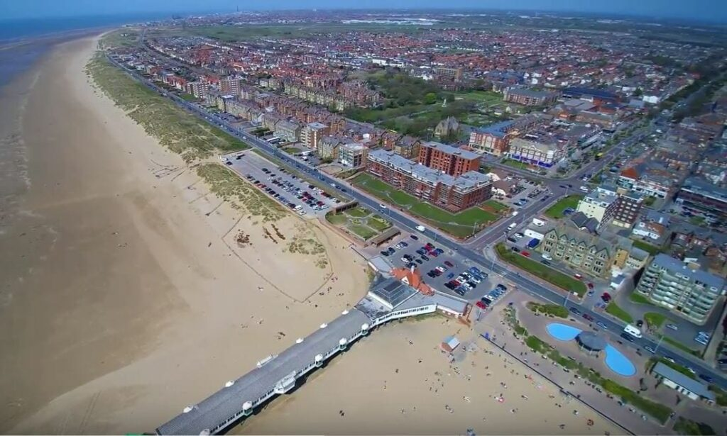 Aerial view of St Annes seafront and beach from Quadrographer13