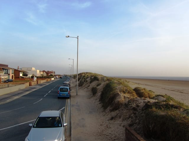 Sand dunes of North Promenade on St Annes seafront and beach