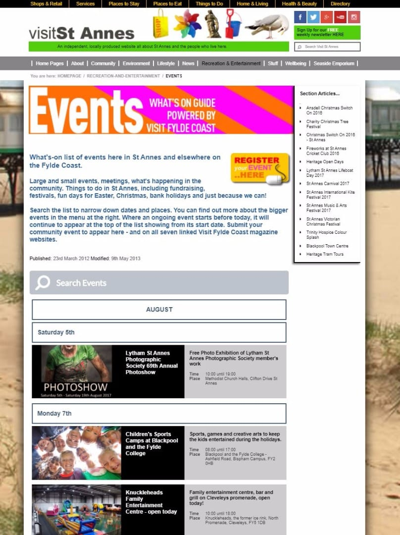 Visit St Annes website events and what's on guide