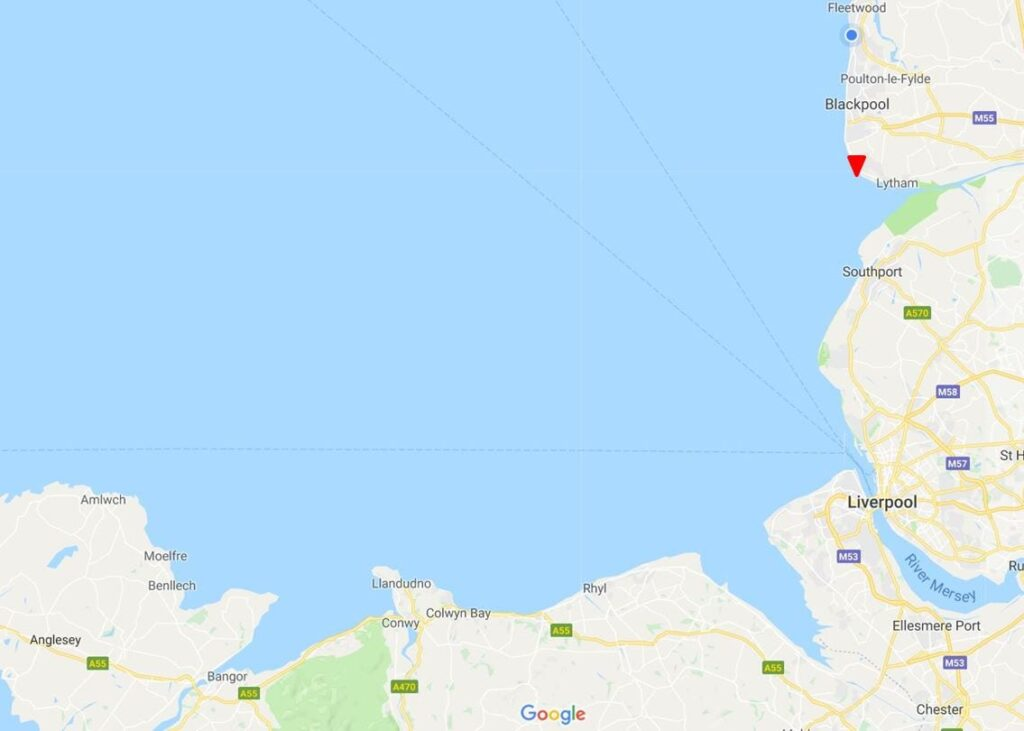 Google map of views across the sea from St Annes