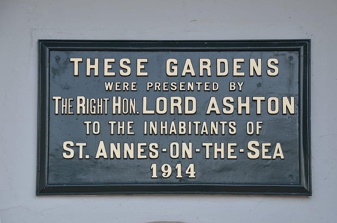 Plaque on the Lord Ashton Monument in Ashton Gardens St Annes