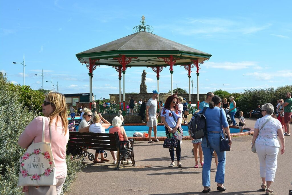 Paddling pool and bandstand at the start of the Promenade Gardens at St Annes