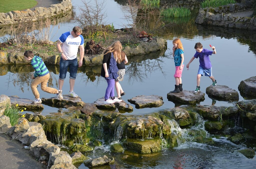 Stepping stones in the ponds in the promenade gardens at St Annes