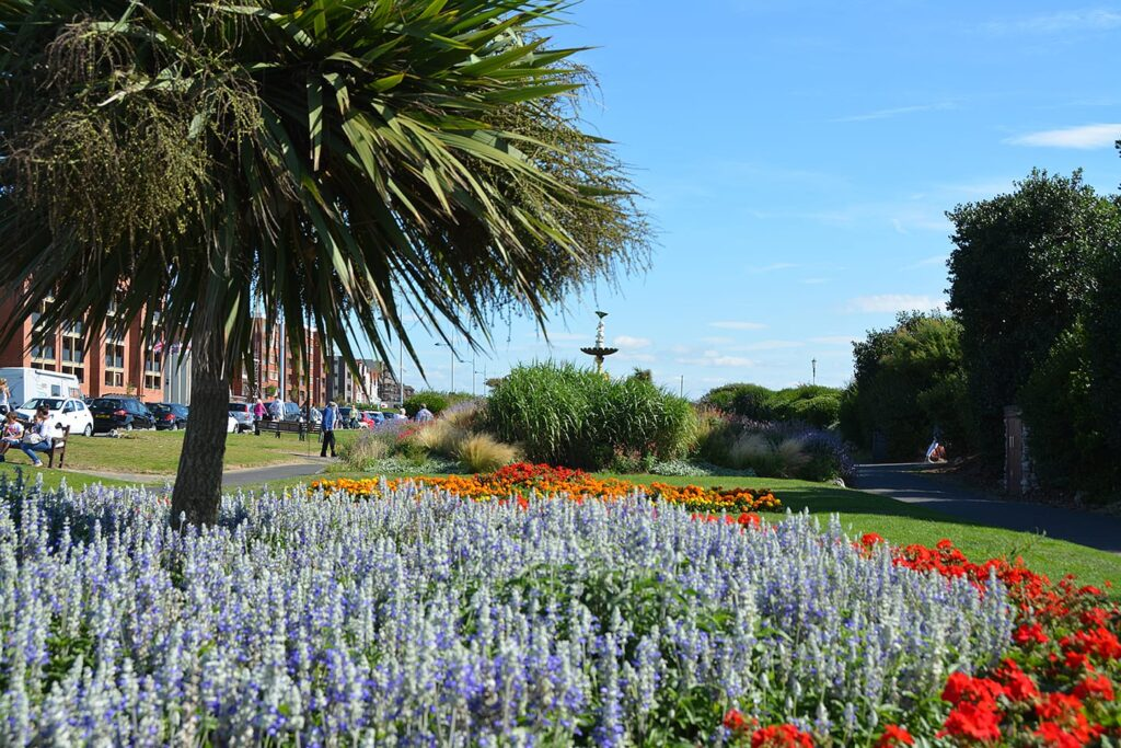 Gardens at St Annes seafront and beach