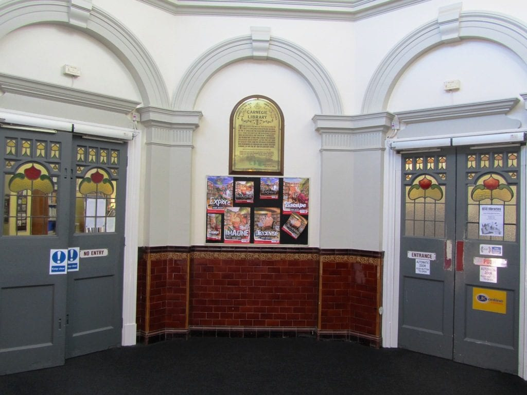 Entrance to and History of St Annes Library