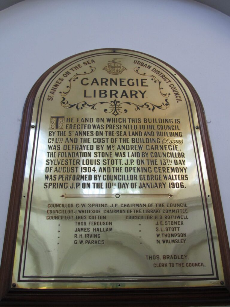 Opening plaque tells the history of St Annes Library